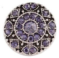 Silver Purple Rhinestone 20mm Snap Charm For Ginger Snaps Magnolia Vine