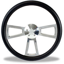 "18"" Polished Billet & Black Steering Wheel for Peterbilt, Kenworth Big Rig Truck"
