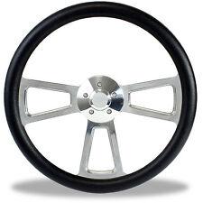 """18"""" Polished Billet & Black Steering Wheel for Peterbilt, Kenworth Big Rig Truck"""