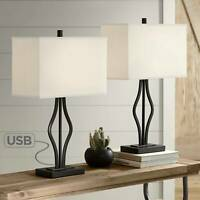 Modern Table Lamps Set of 2 with USB Port Black Rectangular Shade Living Room