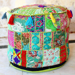"""18"""" New Seating Footstool Vintage Handmade Patchwork Indian Ottoman Pouf Ethnic"""
