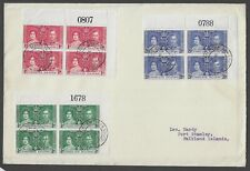 FALKLAND ISLANDS 1937 KGVI Coronation FDC Marginal Blocks of 4, sheet numbers.