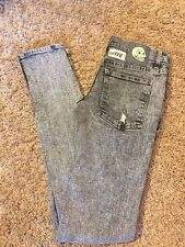 Unisex VGUC CHEAP MONDAY 28/32 Narrow Hole Gray Low Rise Skinny Destroyed Jeans