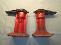 2 WORKING RED VINTAGE CAR TRUCK RATCHET SCREW JACKS ~ SJ-1440