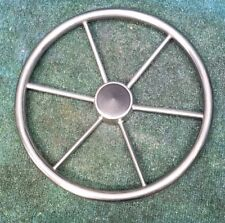 Marine Stainless Round Boat 15 Inch Steering Wheel 3/4 inch Tapered Shaft Key
