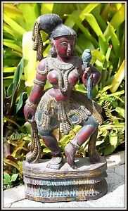 """Lovely """"Hand Carved & Painted Wooden Apsara from India"""" (25.5"""" H x 12"""" W x 5"""" D)"""