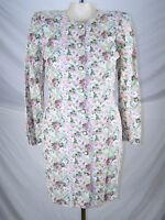 Milanzo Ivory Pink Green Long Sleeve Floral Dress Juniors Size 9 Medium