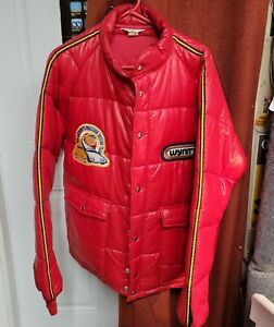 Vintage WYNN'S Motorsports Official Racing Jacket XL Red Puffer Tom Anthony Team