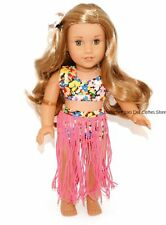 Pink Hula Costume + Flower Hair Clip 18 in Doll Clothes Fits American Girl PKN