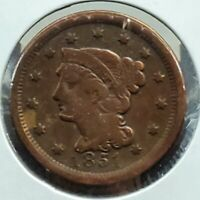 1851 Braided Classic Liberty Head US Large Cent 1c Fine Details Circulated