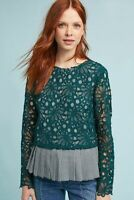ANTHROPOLOGIE $88 Maeve Guipure Lace Overlay Gingham Peplum Top Size Small