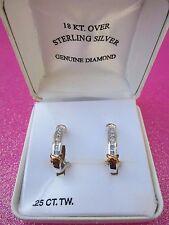 18kt Gold Over Sterling Silver Genuine Diamond Earrings