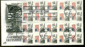 U.S. FDC #1896e 2 Booklet Panes of 10 Artcraft Cachet New York, NY Flag