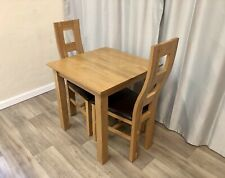 Oak Furniture Land Solid Oak Small Dining Table And 2 Solid Oak Chairs 100% Oak!