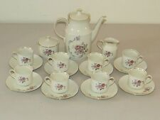 LOVELY * BAVARIA SCHIRNDING * FLORAL & GOLD TEA COFFEE DESSERT 21 PC SET GERMANY