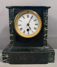 19thC Antique Victorian Era Italian Marble Etched Gothic Style Mantel Clock
