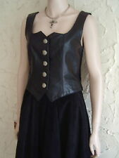 Italy Black Faux Leather Velvet Spandex Sexy Bustier Sweetheart Top Corset S XS