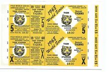 1968 World Series Game 5 @ Detroit Salesman Sample Replica Ticket Sheet !