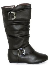 Girl's Kids Double Buckle Military Combat Boots Side Zipper Fashion Shoes