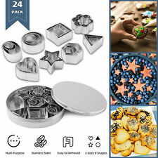 24pcs Cookie Cutter Star Heart Flower Round Stainles Steel Pastry Baking Mould