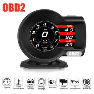 Car OBD2 HUD Head-Up Digital LCD Display Boost Data Scan Tool Speedometer Gauge
