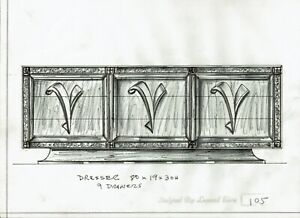 Orig. Mid Century Furniture Design Sketch Pulaski Dresser 1970's Leonard Eisen