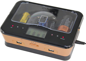 Chargeur de Piles Rechargeables C/D/AA/AAA 9V ALCALINES LCD 4 Pile 2 Port USB