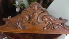 Antique large French pediment fronton elm wood carved