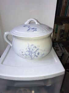 Antique Floral Chamber Pot With Lid