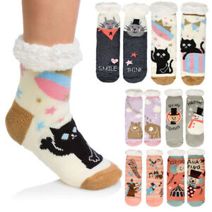 Ladies Fur Lined Thick Anti Slipping Bed Socks Warm Slippers Animal Pattern DN25