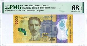 Costa Rica 5.000 Colones P282a 2018 PMG 68 EPQ s/n C000381649 Polymer