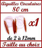 1 PAIRE D' AIGUILLE CIRCULAIRE A TRICOTER 80 CM EN BAMBOU VÉRITABLE TRICOT LAINE