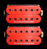 Guitar Parts GUITARHEADS PICKUPS HEXBUCKER HUMBUCKER - Bridge Neck SET 2 - RED