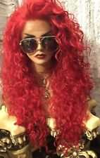 "WOW!! FIERY RED! 32"" LONG, CURLY BIG HAIR! ,Multi Style, Lace Front Wig!"
