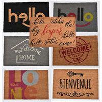Evideco Sheltered Printed Front Door Mat Writing Coir Coco Fibers Rug 24x16 Inch