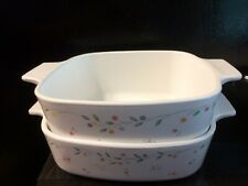 2 English Meadow Corning Ware Dishes   1 Liter and 1.5 Liter & 2 Lids