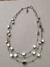 Lia Sophia Mainstreet triple 3 chain squares & beads necklace pendant