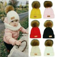 Cute Toddler Girls Boys Kid Baby Infant Winter Warm Fur Pom Knit Hat Beanie Caps