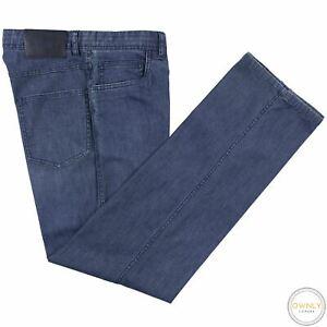 Brioni Stelvio Blue Denim Cotton Unlined 5-Pocket Flat Front Jeans 30W