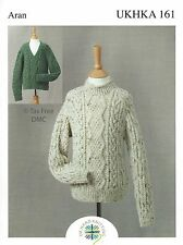 VAT Free Hand Knitting PATTERN ONLY To Make Adult Aran Country Sweaters UKHKA161