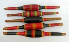 Vintage Original Old Lot of 5 Hand Carved Lacquer Wooden Chapati Rolling Pin