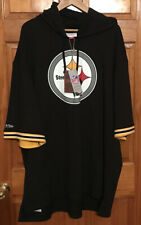 NICE!! Pittsburgh Steelers Team Logo Mitchell & Ness Hoodie short sleeve 2XLong