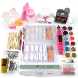 Acrylic Powder Nail Art Tool Starter Kit Nail Tips Brush File Form Drill Machine