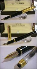 Stilografica Kaigelu 302 Black Lacquer Gold fountain pen Nib two-tone siz.M