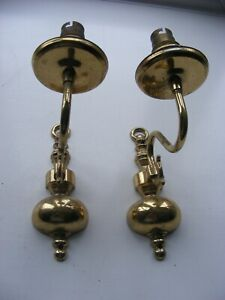 2 x Vintage Brass Candle Wall Lights