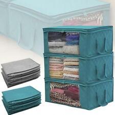 3PCS Foldable Underbed Clothes Storage Box Bag Clothing Organizer Wardrobe Cube