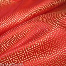 RED GOLD  WIND SWIRL BROCADE FAUX SILK SHANTUNG FABRIC 4 DRESS BLOUSE ORIENTAL