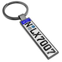Farbe:GRAU.Schlüsselanhänger KFZ Kennzeichen für VW OPEL MERCEDES FORD AUDI Auto