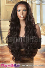 LUXURY Tousled Super Long LACE FRONT Heat Friendly Wig Brown Black