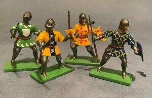 Britains Foot Knights - METAL, 4 Assorted, No BOX, GLOSS